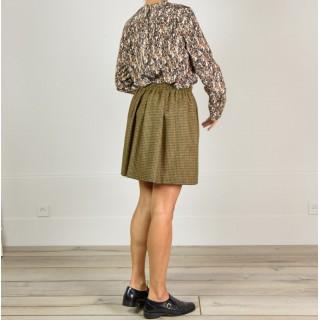 Pleated short skirt houndstooth Manoir Chan Roseanna