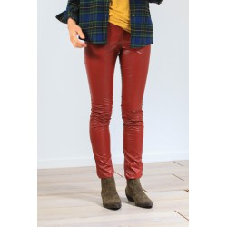 Legging simili cuir rouge brique Zeffery Isabel Marant Etoile