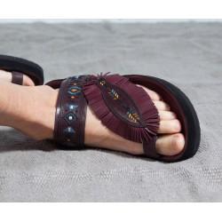 EBANN Sandales cuir bordeaux brodées  à franges Isabel Marant