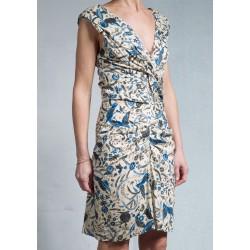 3e48c2ea98599 Short dress CARLA print on beige ground