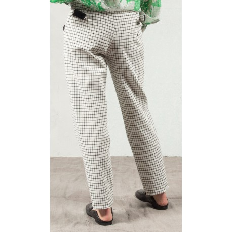 CHARLES BROCC Large pants white ground black checks Roseanna