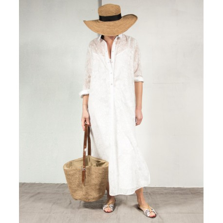 SUGAR MARG Long sleeves ong shirt dress off white cotton ROSEANNA