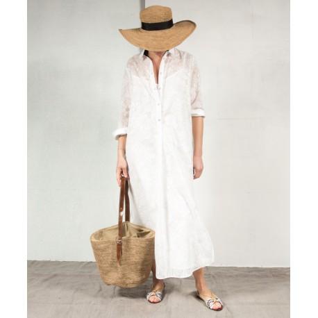 SUGAR MARG Long sleeves ong shirt dress off white cotton ROSEANNA