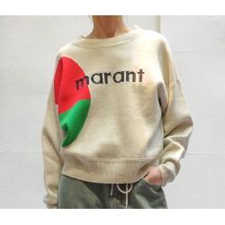 KORBIN pull manches longues beige logo rouge et vert Isabel Marant Etoile