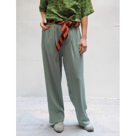 ANDREA MONA Roseanna fluid pants green & white stripes