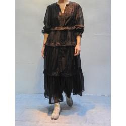 ABONI Robe noire longue à volants Isabel Marant Etoile