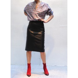 AMY Knee length skirt black leather Closed