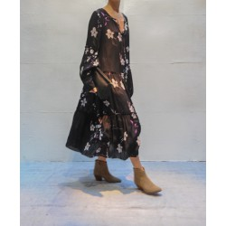 CLOSED long black dress white floral print