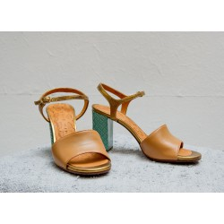 CHIE MIHARA Natural leather, turquoise square heel 8.5 cm