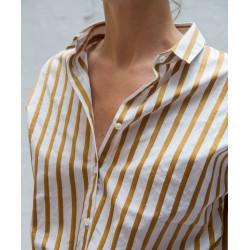 CLOSED short sleeves shirt ochre & white striped