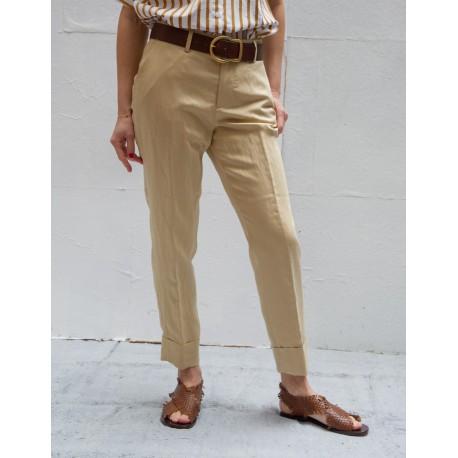CLOSED STEWART Beige pleat & turn up pants