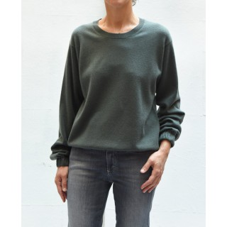 CLOSED C9660792222 long sleeves round neck caper green thin sweater with elastic bottom & cuffs
