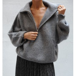 MYCLAN Isabel Marant Etoile zipper mock neck grey mohair large sweater