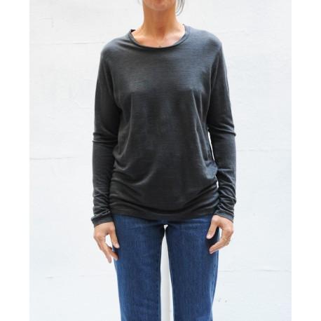 KAARON Charcoal long sleeves linen Tshirt Isabel Marant Etoile