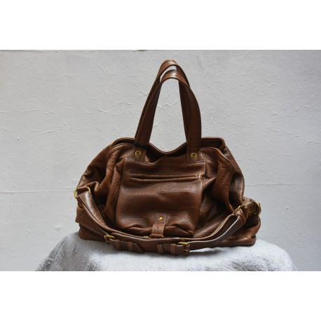 JEROME DREYFUSS BILLY L Jungle brown bubble lambskin bag