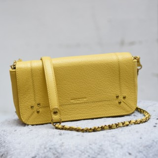 BOB  Jérôme Dreyfuss chain strap shoulder bag mimosa yellow goatskin