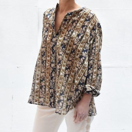 MEXIKA Isabel Marant Etoile col mao chemise coton imprimé bleu nuit ecru