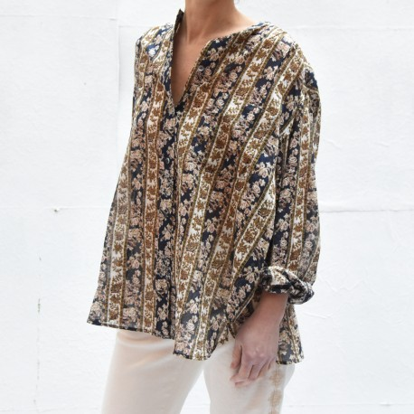 MEXIKA Isabel Marant Etoile mao collar printed cotton shirt midnight ecru