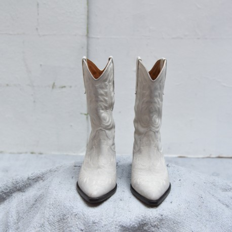 DUERTO Isabel Marant bottes western blanc lasure