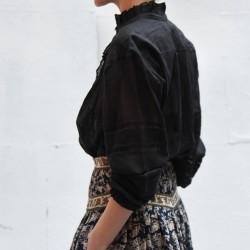 VALDA Isabel Marant Etoile longsleeves shirt with embroided needlework & gathered flounce