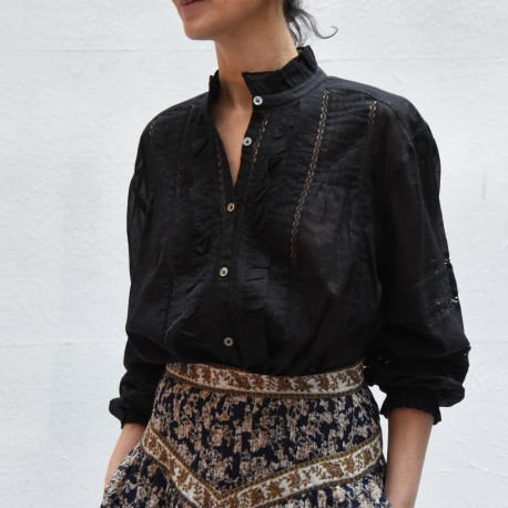 VALDA Isabel Marant Etoile longsleeves shirt with embroided needlework & gathered flounce