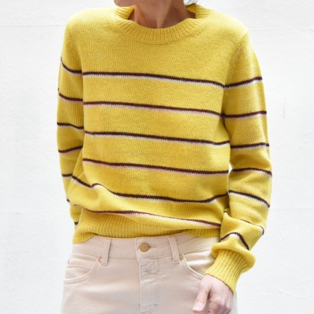 GIANILI Isabel Marant Etoile long sleeves round neck sweater yellow ground striped black & ecru