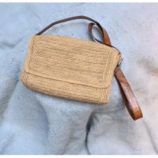 IBELIV HAZO ecru woven raffia shoulder bag with brown leather strap