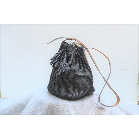 IBELIV CAPRI stone gray blue woven raffia shoulder bag with brown leather strap