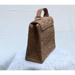 IBELIV KALO Dark tea woven raffia square bag with flap & brown leather handle