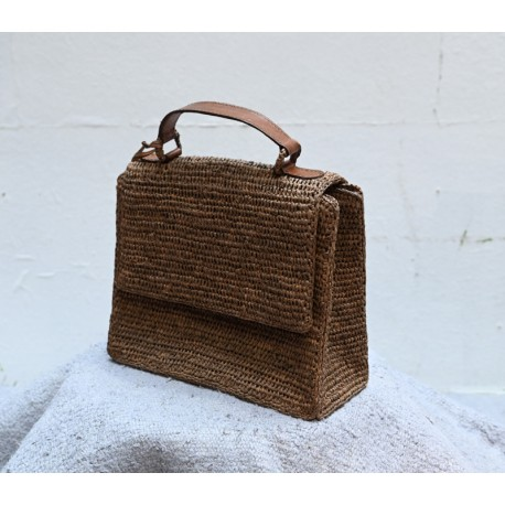 IBELIV KALO Dark tea woven raffia square bag with flap & brown leather handle