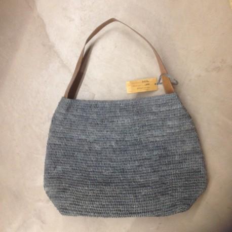 IBELIV LAPA Sac besace raphia tressé bleu gris + poignée cuir