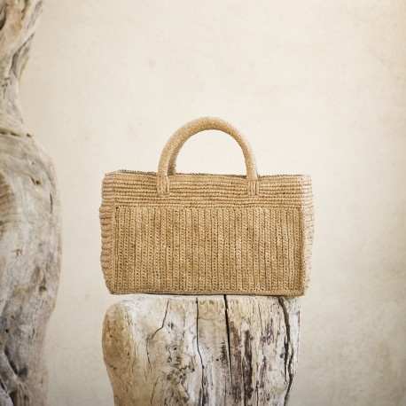 IBELIV MODY Small basket with two handles, woven raffia, beige