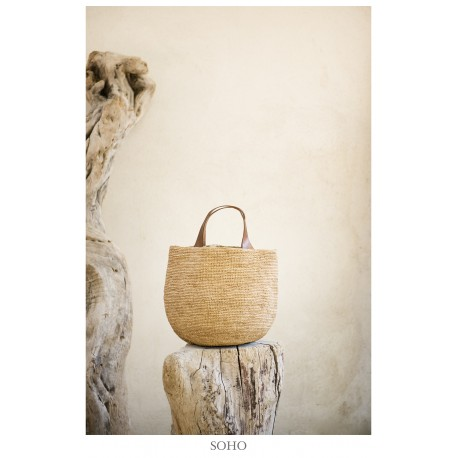 IBELIV SOHO Small round beige basket with two brown leather handles