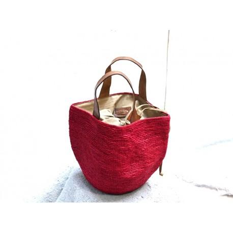 IBELIV SOHO Petit panier rond rouge avec deux poignées cuir brun