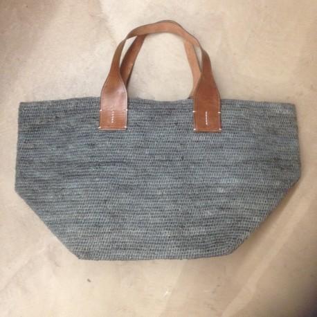 IBELIV TOKYO panier souple en raphia tressé bleu gris, 2 poignées cuir