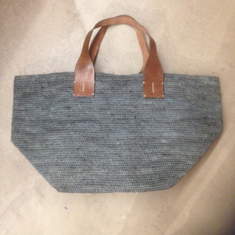 IBELIV TOKYO soft basket in stone gray blue woven raffia, 2 leather handles